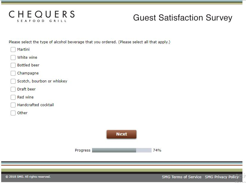 Chequers Guest Satisfaction Survey, www.chequersfeedback.com ...