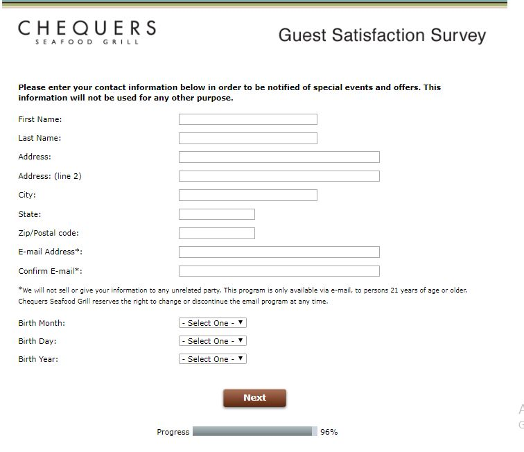 www.chequersfeedback.com Chequers Seafood Grill Guest ...