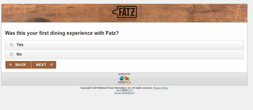 Fatz Cafe Guest Satisfaction Survey