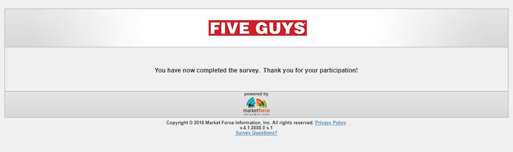 Five Guys Customer Experience Survey -