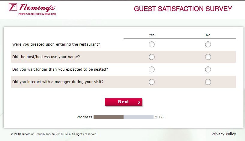 www.flemingslistens.com – Fleming's Guest Satisfaction Survey