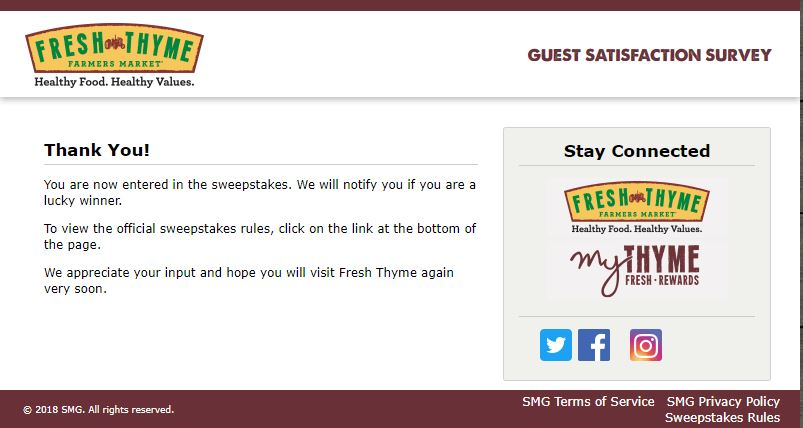 fresh thyme customer service number