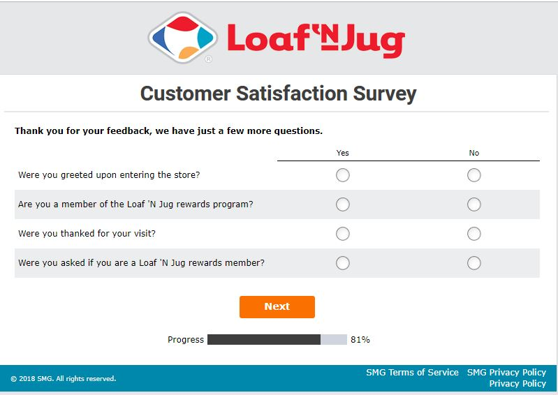 Loaf 'N Jug Customer Satisfaction Survey