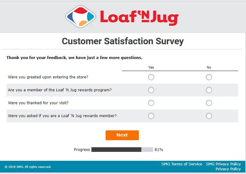 Loaf 'N Jug Customer Satisfaction Survey