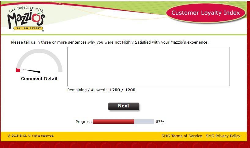 Mazzio's Customer Loyalty Index Survey At www tellmazzios com/
