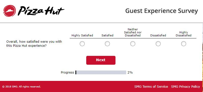 pizza hut guest experience survey canada