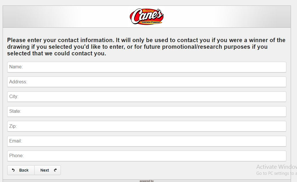 Raising Cane's Customer Satisfaction Survey -