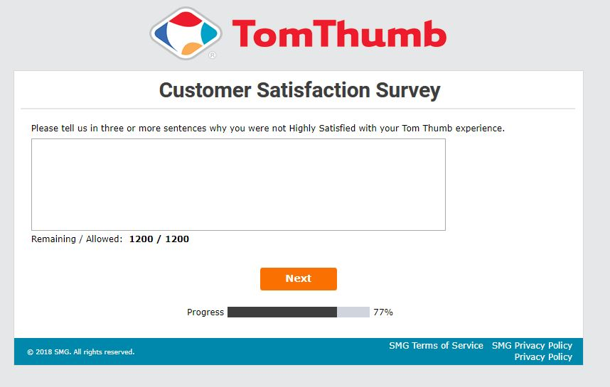 tom thumb online survey