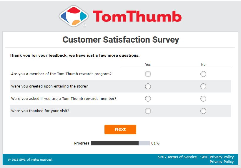 tom thumb grocery delivery survey