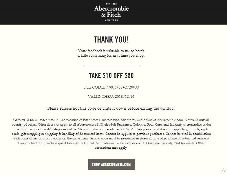 www.tellanf.com ― Take Official Abercrombie® Survey ― Get Free $10