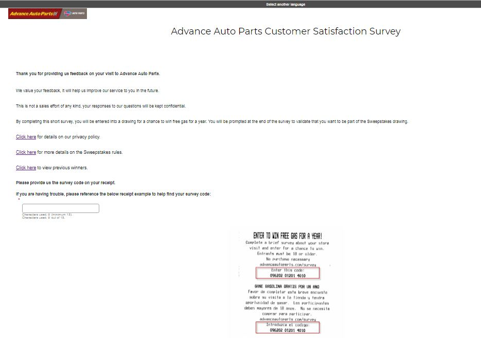 Advance Auto Parts Customer Satisfaction Survey | Win $2500 Gas Card