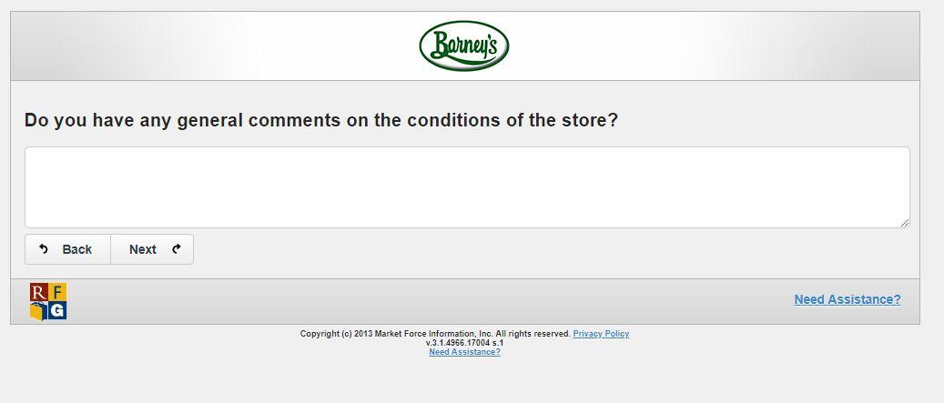 Barney's Online Survey | www.Barneysfeedback.com