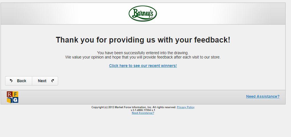 Barney's Online Survey