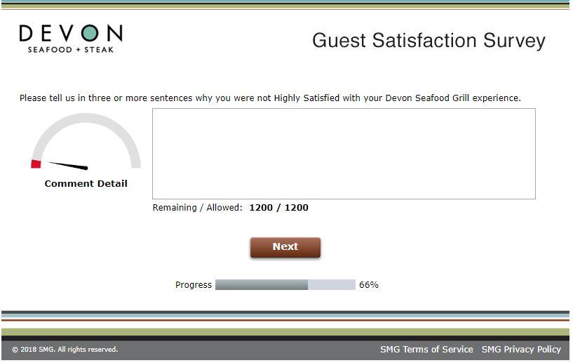 www.devonfeedback.com Devon Seafood Grill Guest Satisfaction ...