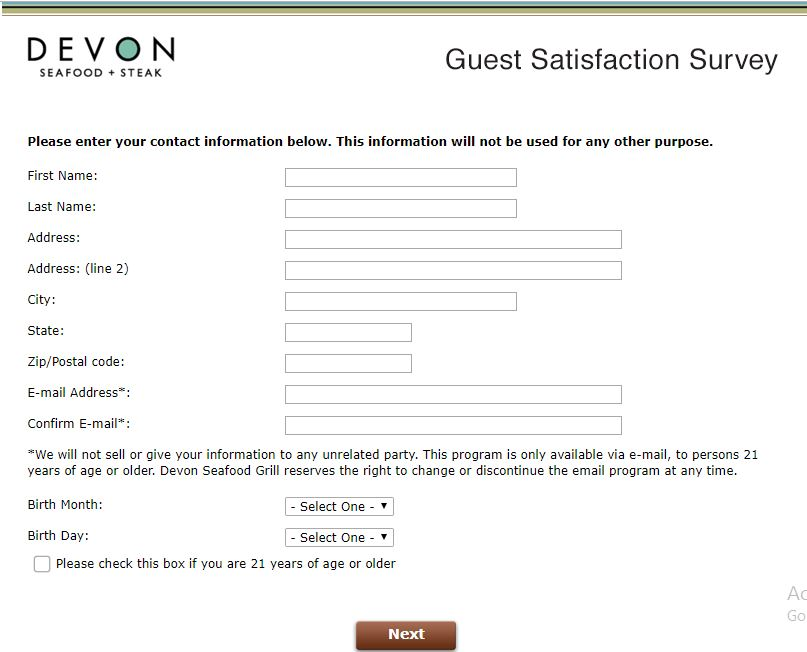 Devon Survey - www.devonfeedback.com - Customer Survey Report