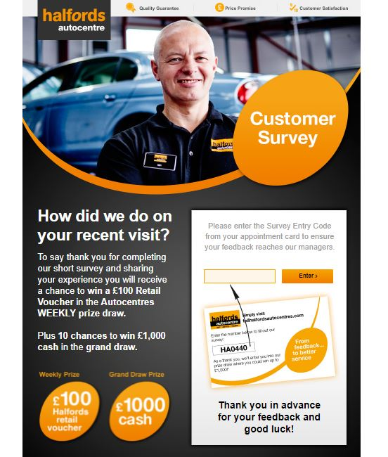 halfords customer survey