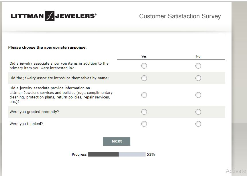 Join Littman Jewelers Customer Satisfaction Survey - E-Guides Service