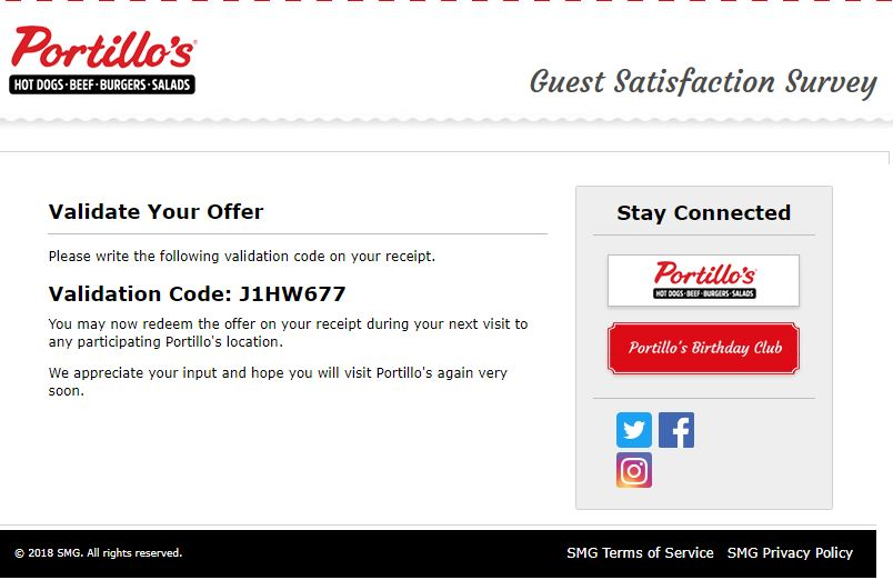 portillo's guest survey