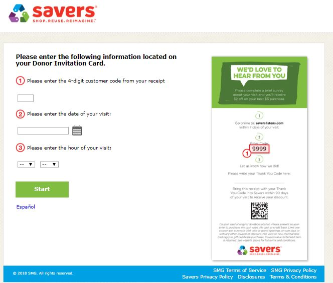 savers receipt