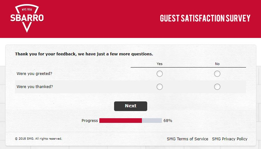 sbarro survey