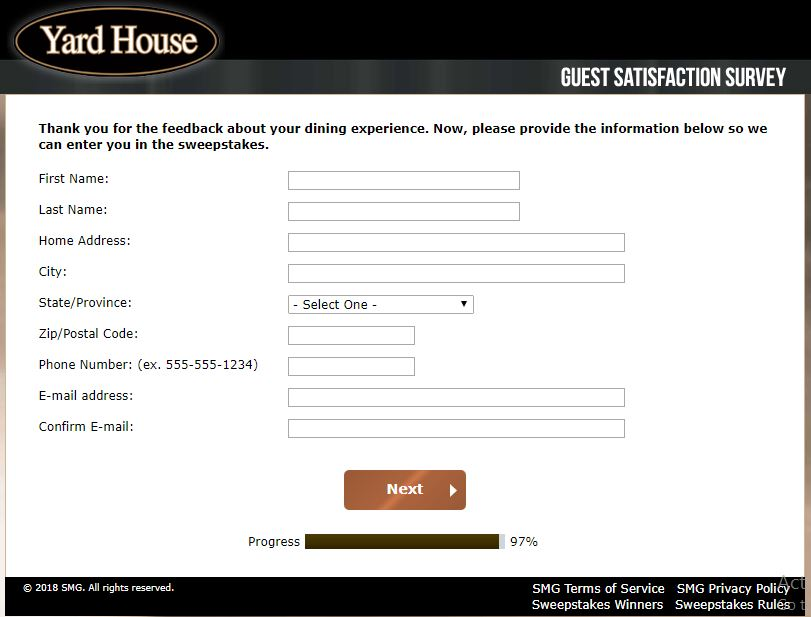 www.yardhousesurvey.com - Yard House Guest Satisfaction Survey