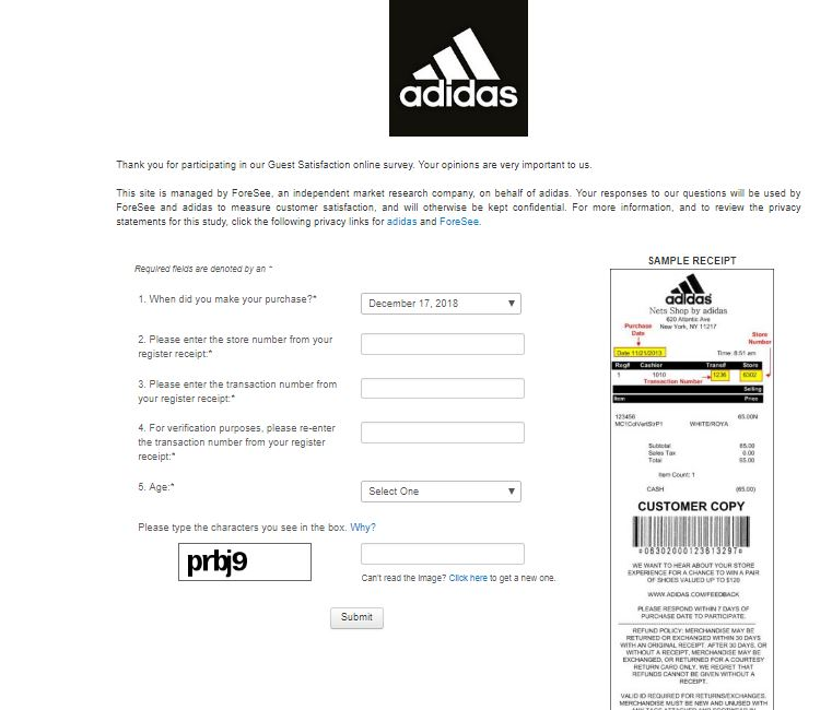 adidas questionnaire answers
