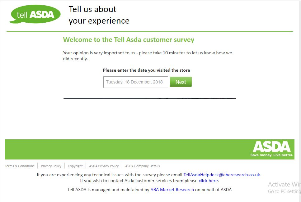 Survey competition - Asda Customer Service