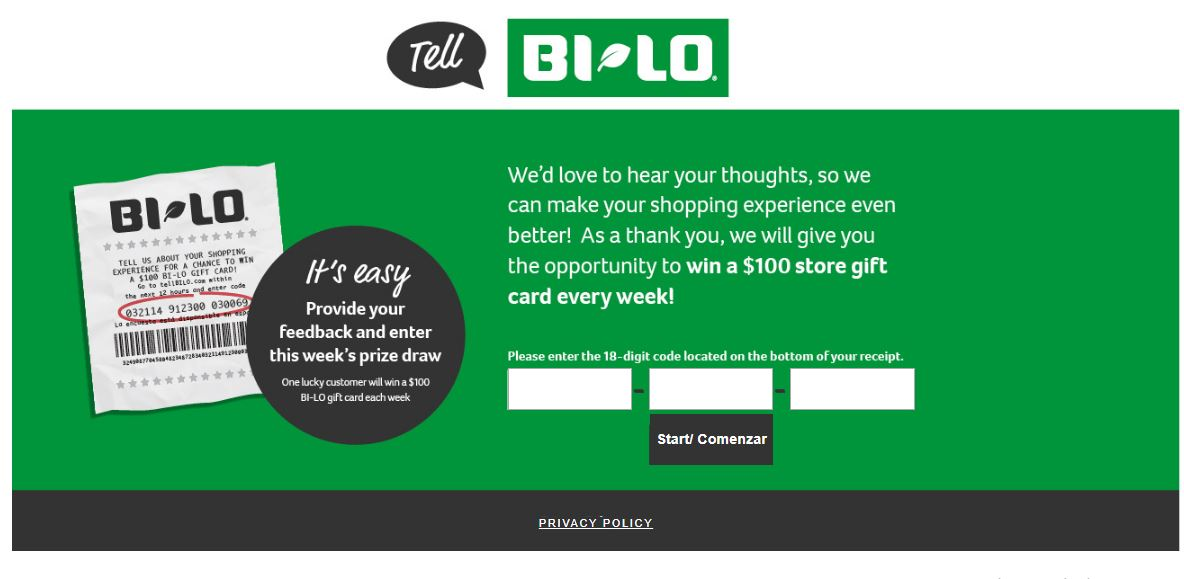 Tell BI-LO Feedback in Customer Survey |