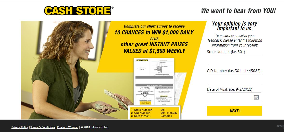 Cash Store Customer Survey Feedback Win $ 500 At www.cashstore ...