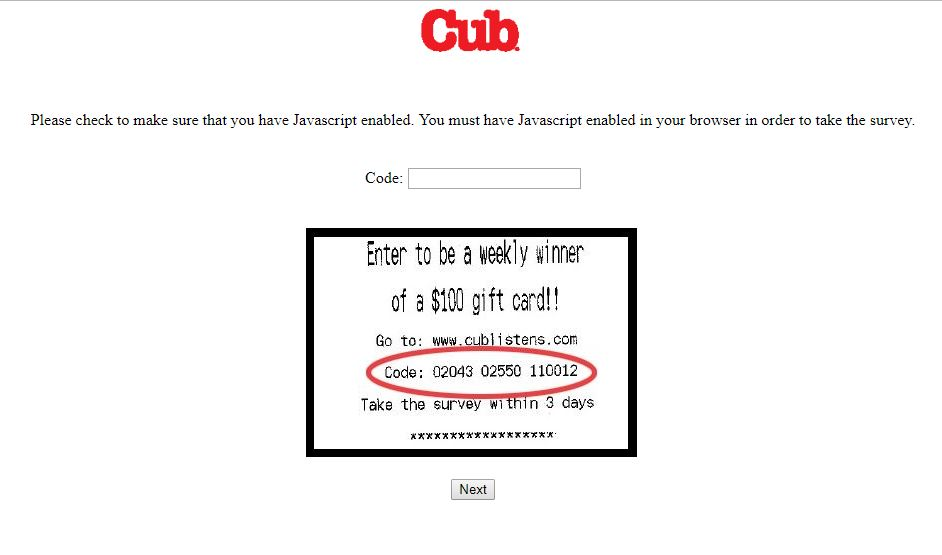 Cub Foods customer survey - ICC/Decision Services