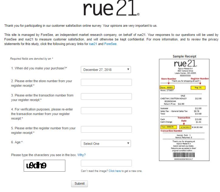 rue21 Guest Feedback Survey