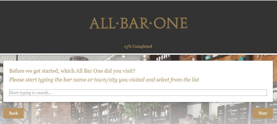 All Bar One Customer Satisfaction Survey