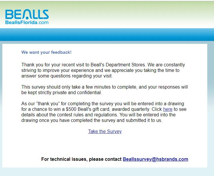 www.beallsflorida.com/survey Bealls Department Stores Survey $500 ...