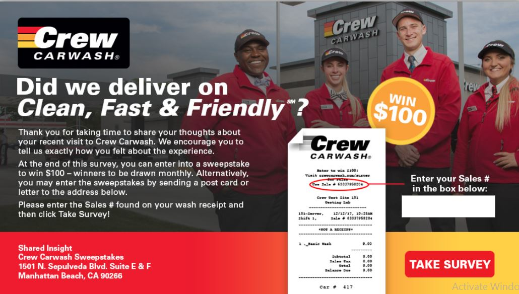 Crew Carwash Customer Satisfaction Survey -