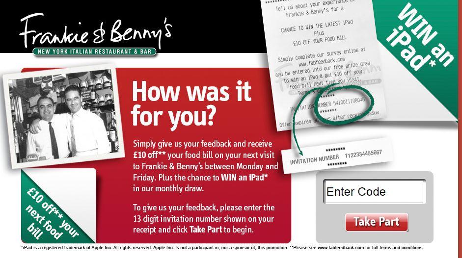 Frankie & Benny's Survey Guide | Customer Survey Assist ...
