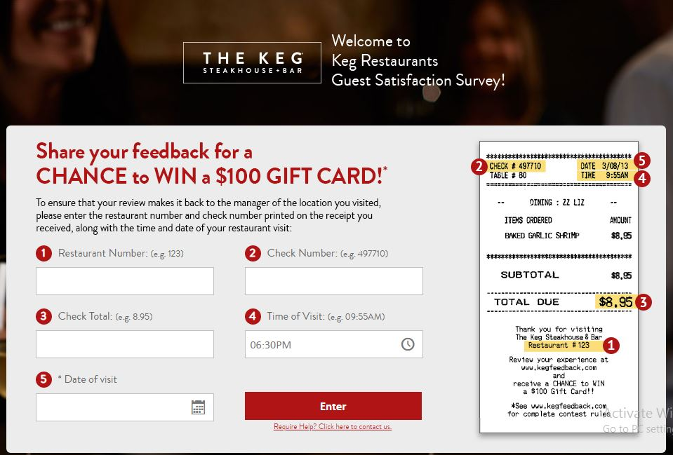 Keg Steakhouse & Bar Customer Experience Survey