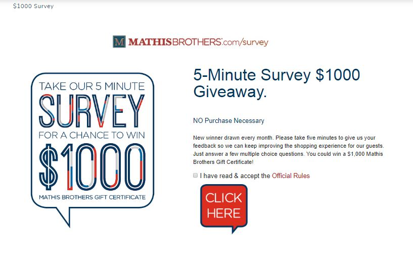 $1000 Survey - Mathis Brothers