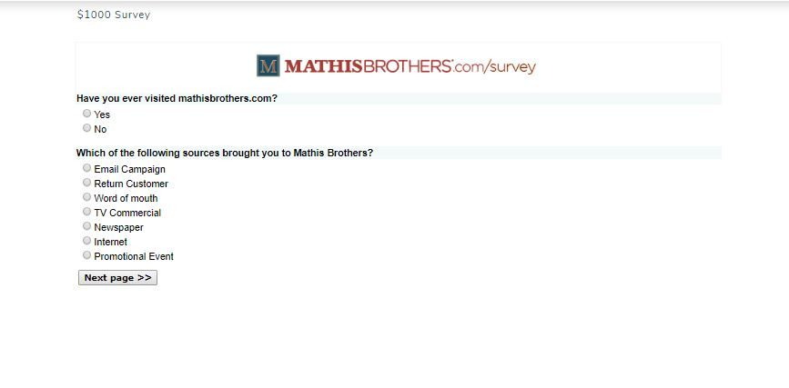 Mathis Brothers Customer Satisfaction Survey