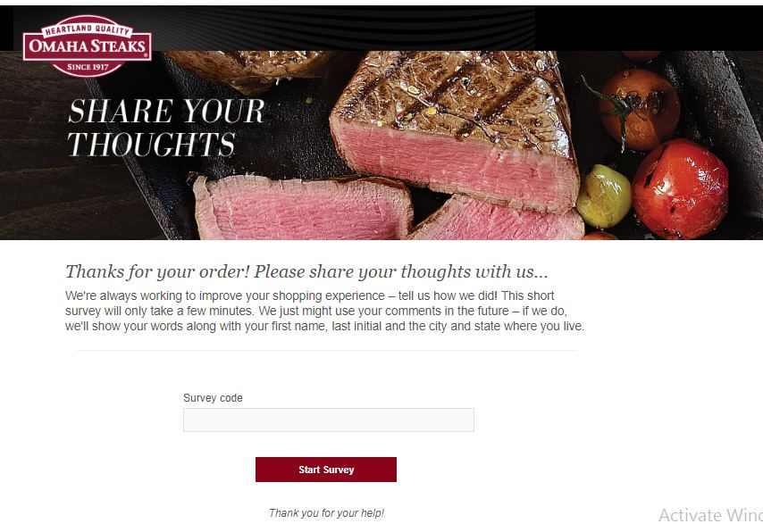 Omaha Steaks Customer Experience Survey, www.omahasteaks.com ...