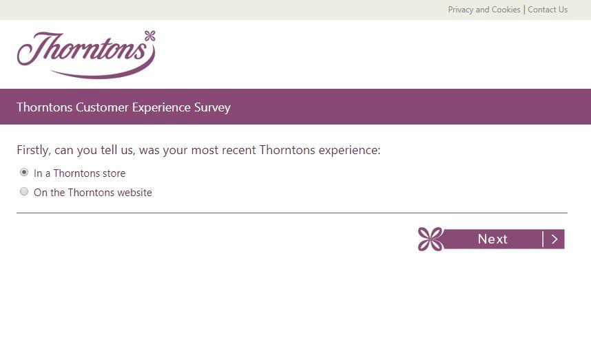 Thorntons Customer Experience Survey - survey.thorntons.co.uk   2018