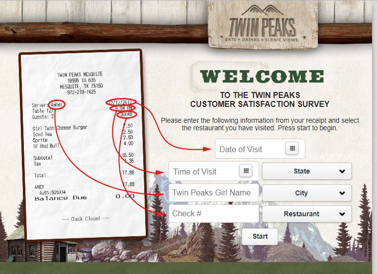 Twin Peaks Customer Satisfaction Survey - www.telltwinpeaks.com