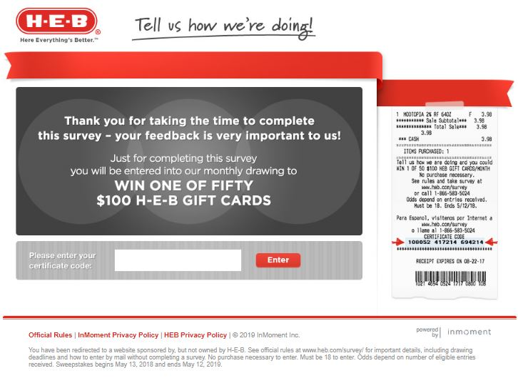 H-E-B Customer Satisfaction Survey - www.heb.com/survey