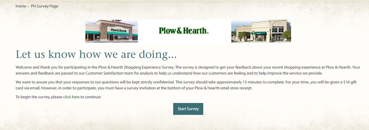 Plow & Hearth Retail Shopping Experience Survey, plowhearth.com ...