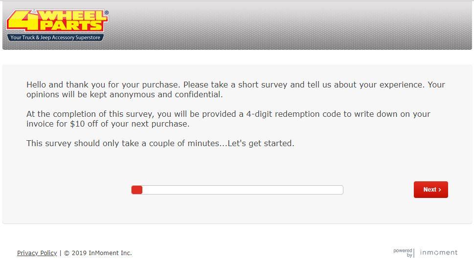 www.4WheelPartsSurvey.com – Get $10 off – Survey Gather