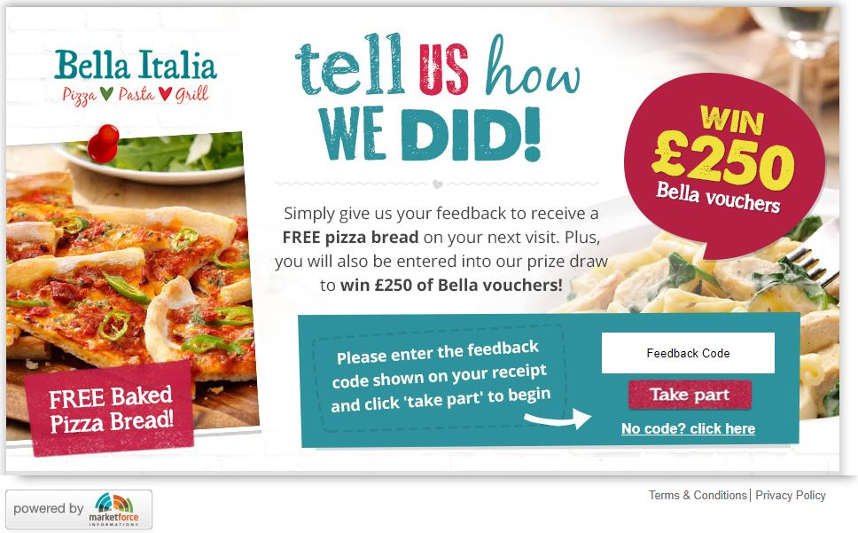 Bella Italia Customer Satisfaction Survey