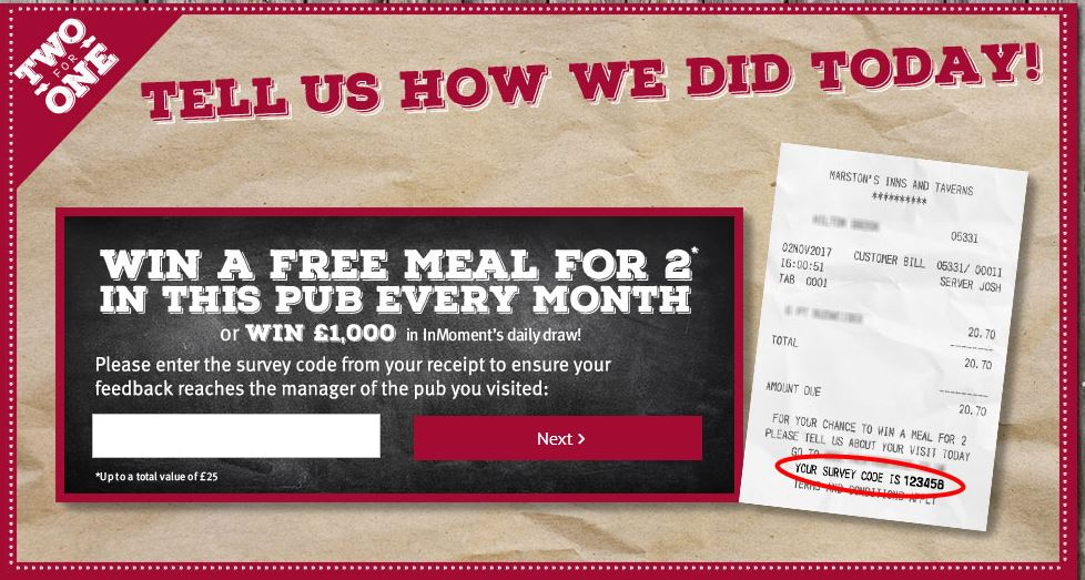Tell in Two For One Survey Sweeps to win £1K or Free Meal ...