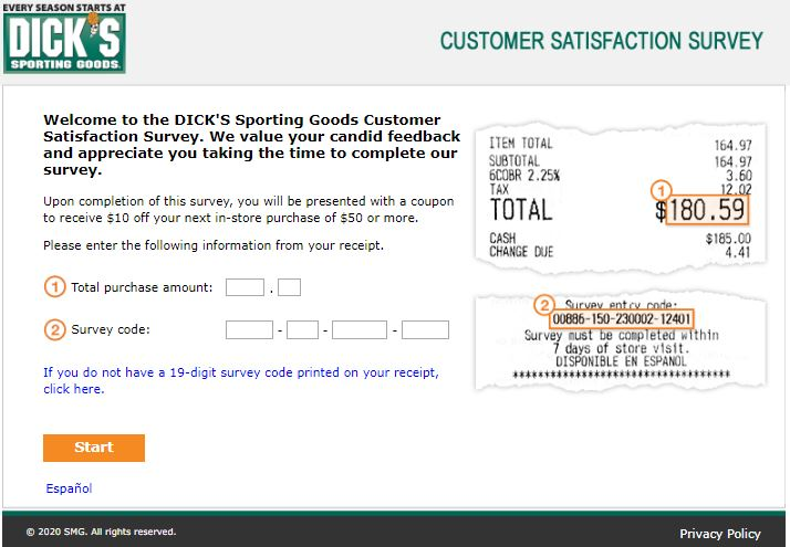 Dicks Sporting Goods survey
