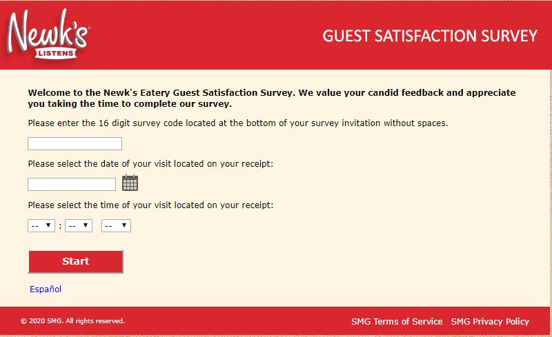 Newks Eatery Guest Satisfaction Survey