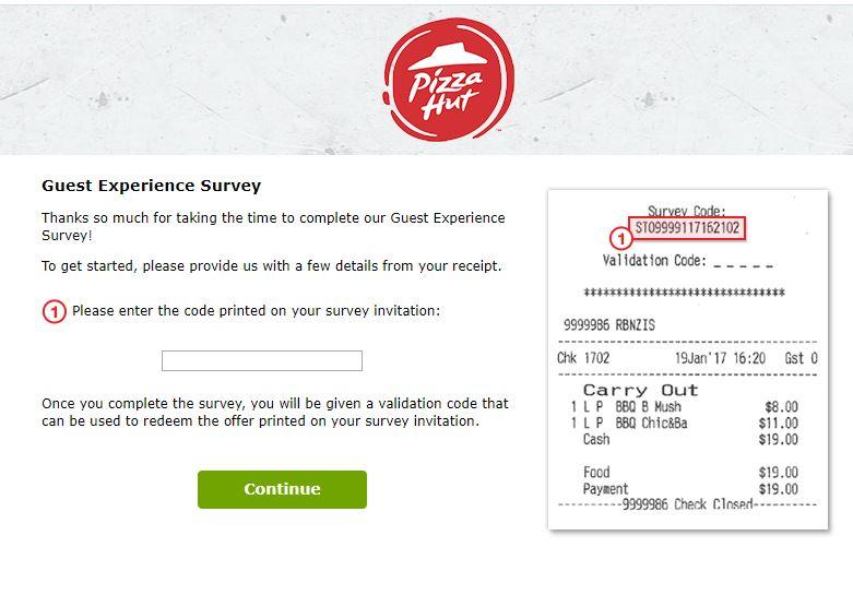 Pizza Hut New Zealand Guest Experience Survey